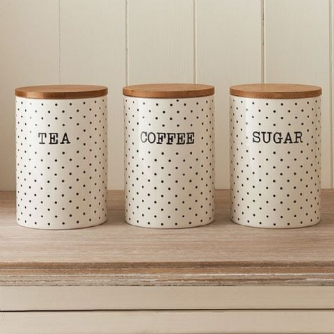 Cream & Black Polka Dot Ceramic Canisters